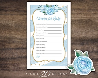 Instant Download Floral Watercolor Wishes for Baby, Blue Gold Glitter Baby Shower Game, Printable Watercolor Wish for Baby Game 93B