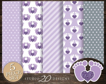 60% OFF! Instant Download Purple Footprint Digital Paper, Printable 12x12 Lilac Grey Baby Feet Baby Shower Coordinating Paper 75B