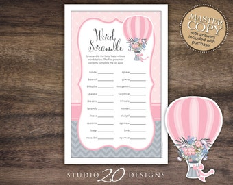 Instant Download Pink Grey Hot Air Balloon Baby Shower Word Scramble, Printable Up Up and Away Word Scramble, Balloon Baby Games #88A
