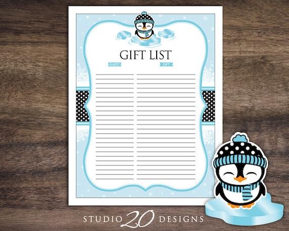 Instant Download Penguin Baby Shower Gift Registry Printable List Black Blue Winter Theme Birthday Tracker 74A