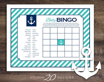 Instant Download Turquoise Nautical Baby Shower Bingo Cards, Printable Sailor Theme Bingo Party Game, Teal Blue Anchor Baby Shower Bingo 26E