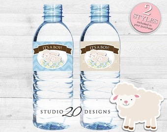 Instant Download Blue Lamb Baby Shower Water Bottle Labels, Printable Blue Lamb Bottle Labels, It's A Boy Water Bottle Labels 39B