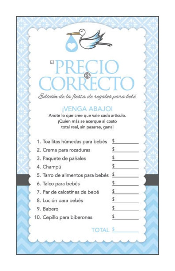 image regarding Spanish Baby Shower Games Free Printable called Prompt Obtain Blue Stork Spanish Kid Shower Video games Pack, Printable Bingo, Rate Is Immediately, Needs , Diaper Raffle, Spanish Video games #50Asp