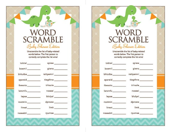 Instant Download Dinosaur Baby Shower Word Scramble Game Etsy