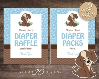 Instant Download Puppy Baby Shower Signs, 8x10 Diaper Raffle Signs, Blue Brown Dog Place Raffle Cards Here, Boy Diaper Packs Here 71A