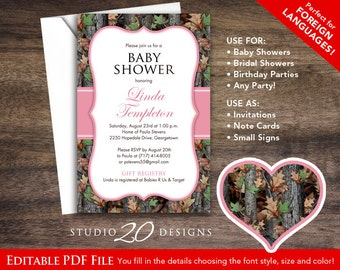 Pink Camo Baby Shower Invitations Editable Pdf, DIY 4x6 Realistic Camouflage Birthday Invites, AUTOFILL Enabled, Instant Download 31D