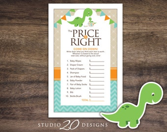 Instant Download Dinosaur Price Is Right Baby Shower Game, Dinosaur Baby Shower Games for Boy, Teal Dinosaur Baby Shower Price Game 59A
