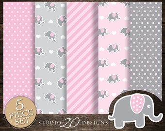 60% OFF! Instant Download Pink Elephant Digital Paper, Printable 12x12 Pink Grey Elephant Baby Shower Coordinating Paper 22B