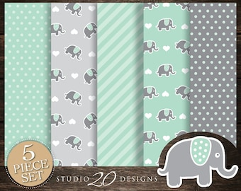 60% OFF! Instant Download Mint Elephant Digital Paper, Printable 12x12 Mint Green Grey Elephant Baby Shower Coordinating Paper 22H