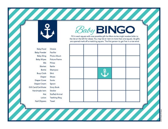 Instant Download Turquoise Nautical Baby Shower Bingo Cards Etsy