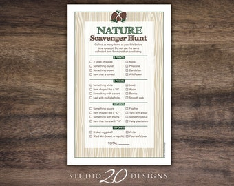 Instant Download Nature Scavenger Hunt Game, Woodland Hunt Party Game, Birthday Party Scavenger Hunt Game, Outdoor Wood Collection Game #20B