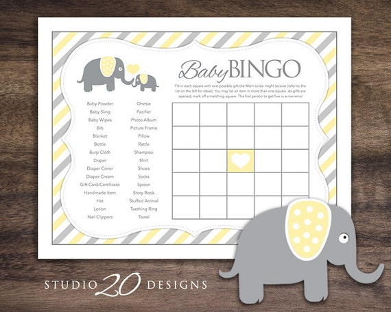 Instant Download Yellow Elephant Theme Baby Shower Bingo Game Etsy