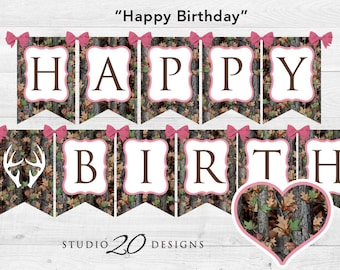 Instant Download Pink Camo Happy Birthday Banner, Girl Camouflage Bunting Banner, Realistic Camo Pendent Banner, Camo Birthday Banner 31D