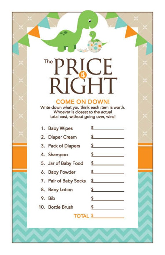 Instant Download Dinosaur Price Is Right Baby Shower Game Etsy