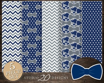 60% OFF! Instant Download Bow Tie Digital Paper, Printable 12x12 Navy Grey Bowtie Baby Shower Coordinating Paper, Little Man Paper 79E