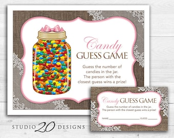 Instant Download Pink Burlap and Lace Candy Guessing Game, Rustic Baby Shower Candy Guess Game, Burlap Birthday Party Game 73A