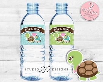 Instant Download Turtle Baby Shower Water Bottle Labels, Printable Boy Turtle Bottle Labels, It's a Boy Water Labels 56A
