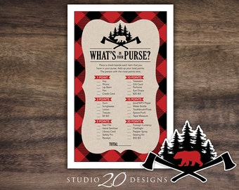 Instant Download Buffalo Plaid What's In Your Purse Game, Black Red Lumberjack Baby Shower Games, Printable Woodland Purse Game #87A