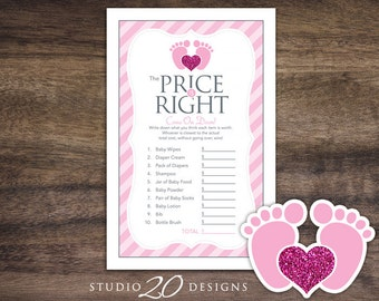 Instant Download Footprint Price Is Right Baby Shower Game, Pink Grey Baby Feet Baby Shower Games, Footprints Price Game 75A