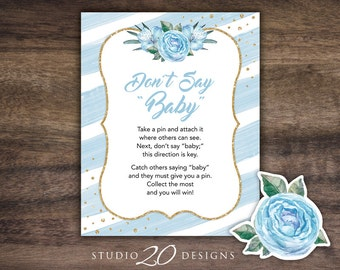 Instant Download Floral Watercolor Don't Say Baby Sign, 8x10 Blue Gold Glitter Shower Pin Game, Baby Shower Don't Say Baby Game 93B