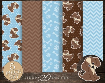 60% OFF! Instant Download Puppy Digital Paper, Printable 12x12 Light Blue Brown Dog Baby Shower Coordinating Paper, Pawprint Paper 71A