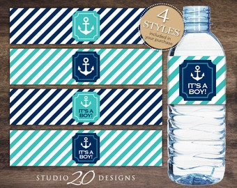 Instant Download Turquoise Nautical Bottle Labels, Printable Turquoise Navy Blue Nautical Water Bottle Labels, It's a Boy Water Labels #26E