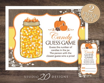 Instant Download Yellow Pumpkin Candy Guessing Game, Baby Shower Candy Guess Game, Gender Neutral Candy Corn Count, Pumpkin Baby Shower #83C