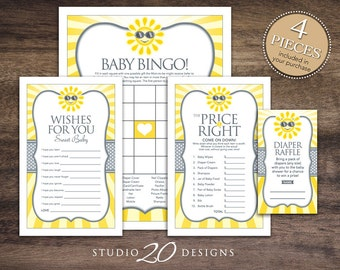 Instant Download You Are My Sunshine Baby Shower Games Pack, Gender Neutral Yellow Grey Sun Bingo, Price is Right, Wishes, Diaper Raffle 72B