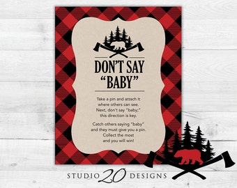 Instant Download Buffalo Plaid Don't Say Baby Game, 8x10 Black Red Lumberjack Shower Icebreaker Pin Game, Woodland Don't Say Baby Sign 87A