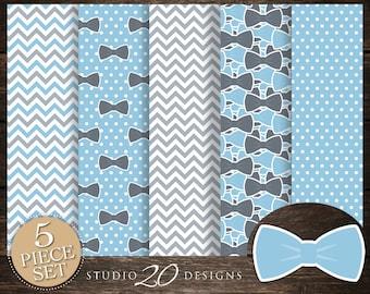 60% OFF! Instant Download Bow Tie Digital Paper, Printable 12x12 Light Blue Grey Bowtie Baby Shower Coordinating Paper, Little Man Paper 79D