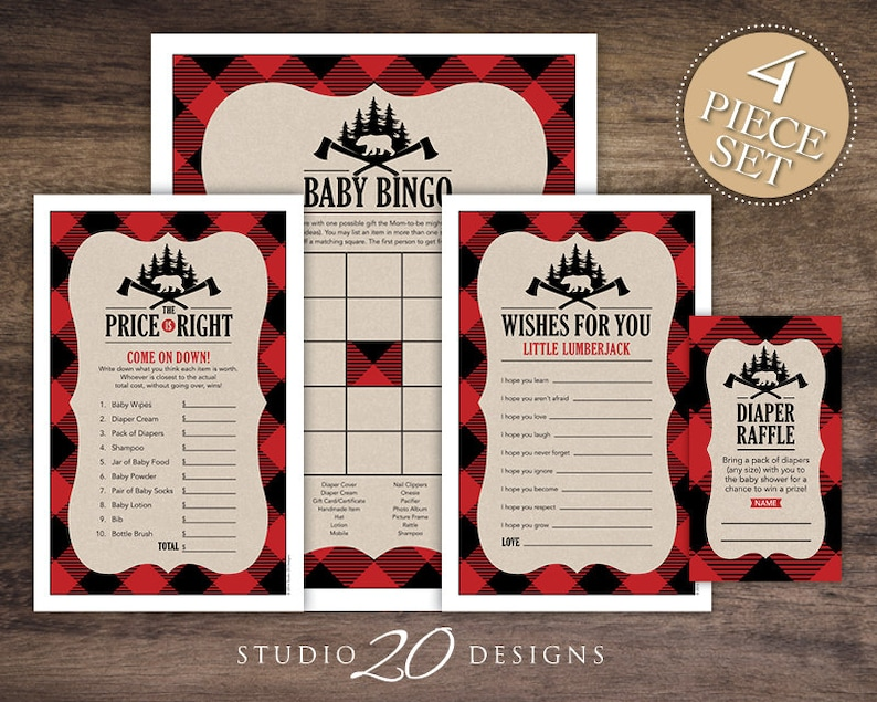 Instant Download Buffalo Plaid Baby Shower Games Pack, Black Red Lumberjack  Bingo Game, Price Is Right, Wishes for Baby, Diaper Raffle #87A