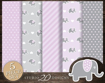 60% OFF! Instant Download Lilac Elephant Digital Paper, Printable 12x12 Purple Grey Elephant Baby Shower Coordinating Paper 22E