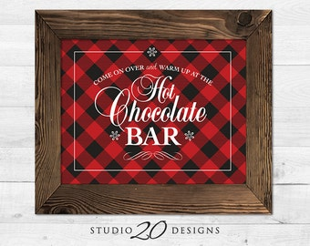 Instant Download 8x10 Hot Chocolate Bar Sign, DIY Rustic Black Red Plaid Hot Cocoa Bar Sign, Winter Holiday Party Cocoa Buffet Sign #20G