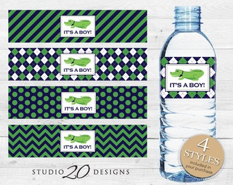 Instant Download Alligator Water Bottle Labels, Printable Alligator Bottle Labels, It's a Boy Water Labels, Crocodile Baby Shower Theme 62A