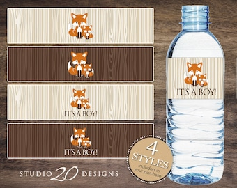 Instant Download Fox Baby Shower Water Bottle Labels, Printable Orange Fox Bottle Labels, It's a Boy Water Labels, Fox Theme Wraparounds 65C