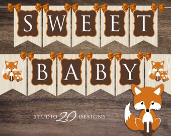 Instant Download Fox Baby Shower Banner, Gender Neutral Fox Bunting Banner, Brown Orange Fox Pendent Banner, Shower Fox Decorations 65C