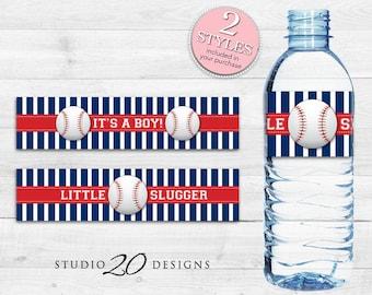 Instant Download Baseball Bottle Labels, Printable Baseball Water Bottle Labels, Blue Red Baseball It's a Boy Water Bottle Wraparounds 68A