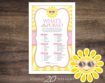 Instant Download Sun What's In Your Purse Game, Yellow Pink You Are My Sunshine Baby Shower Games, Summer Sun Theme Shower Game 72A
