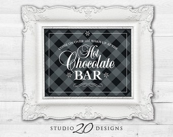 Instant Download 8x10 Hot Chocolate Bar Sign, DIY Rustic Black Grey Plaid Hot Cocoa Bar Sign, Winter Holiday Party Hot Drink Bar #20K