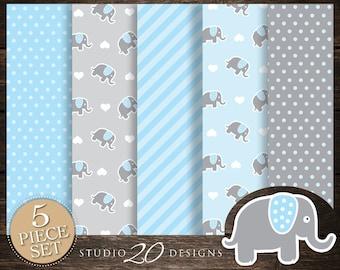 60% OFF! Instant Download Blue Elephant Digital Paper, Printable 12x12 Blue Grey Elephant Baby Shower Coordinating Paper 22C