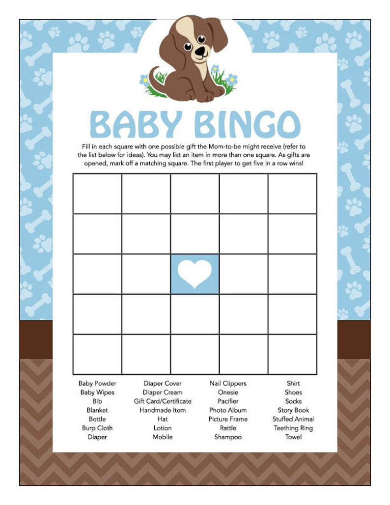Instant Download Puppy Baby Shower Bingo Cards Printable ...