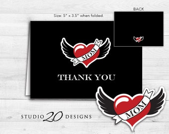 Instant Download Tattoo Thank You Card, Folded Rockabilly Baby Shower Thank You Card, Folded Black Red Tattoo Birthday Card #28A