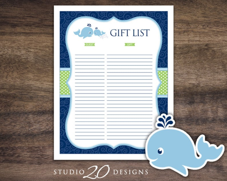 Instant Download Whale Baby Shower Gift Registry Printable
