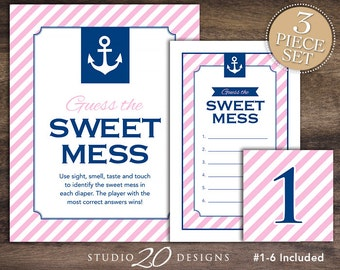 Instant Download Pink Nautical Guess the Sweet Mess Baby Shower Game, Pink Navy Dirty Diaper Game, Girl Baby Shower Candy Bar Game 26C