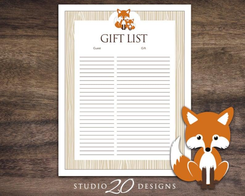 326766d18ed0b Instant Download Orange Fox Baby Shower Gift Registry, Printable Fox Gift  List, Orange Brown Fox Theme Baby Shower Gift Tracking Sheet 65C