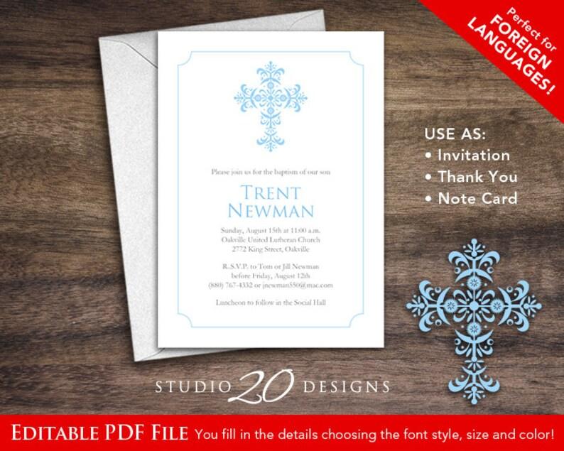 Instant Download 5x7 Blue Baptism Invitations DIY Editable Pdf First Communion Confirmation Boy Christening AUTOFILL 20B