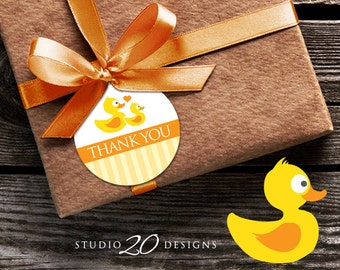 Instant Download Rubber Duck Gift Tags, Printable Duck Thank You Tags, Yellow Duck Birthday Gift Tags, Duck Baby Shower Favor Tags 29A