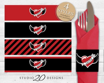 Instant Download Winged Heart Tattoo Napkin Rings, Printable Red Black Baby Shower Napkin Labels, Tattoo Birthday Napkin Rings 28A