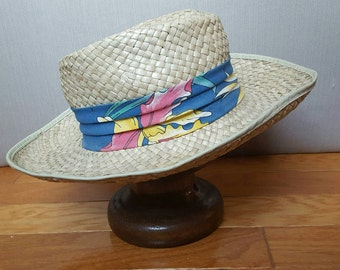 Vintage Panama Straw Hat Long Brim Summer Natural Woven Beach Outdoor  Accessory Size Medium 7 Made in the USA Epsteam Tropical Ribbon Men b6b16f6143d4