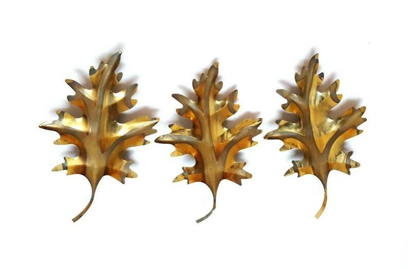e28186cc1f Copper Wall Art Metal Leaf Set of 3 Oak Tree Wall Art Gold Mid | Etsy